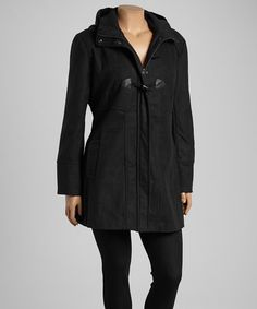Look what I found on #zulily! Black Hooded Toggle Coat - Plus by Yoki #zulilyfinds to 3XXX,$24.99 retail value $100.00
