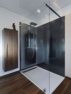 Bad Walk-in shower in the country house bathroom, with glass partition and tile in wood look. Wood Effect Tiles, Glass Partition, Home Decor Mirrors, Chula, Shower Remodel, Walk In Shower, Diy Garden Decor, Beautiful Bathrooms, Saunas