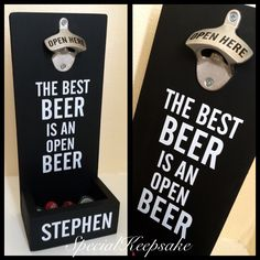 Wall mounted Beer bottle opener with catcher  https://www.etsy.com/uk/listing/455909954/personalised-wooden-wall-mounted-beer