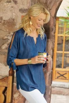 Cold Shoulder Tencel Shirt from Soft Surroundings