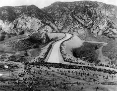 """(Novermber - Photograph caption reads: """"Southern California's tremendous growth necessitated the building of the great Owens Valley aqueduct. This photo shows a crowd of over at its dedication. California History, Southern California, Vintage California, St Francis Dam, Air Fire, San Fernando Valley, Historical Landmarks, Before Midnight, City Of Angels"""