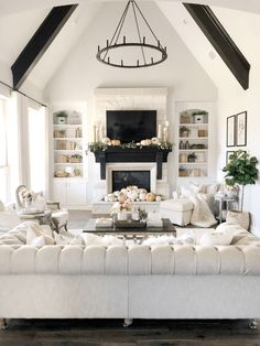 Welcoming Fall Home Tour-Rustic Chic Style - My Texas House : Welcoming Fall Home Tour-Rustic Chic Style - My Texas House Living Room Designs, Living Room Decor, Chimney Decor, Mediterranean Decor, Mediterranean Architecture, House Architecture, Family Room Design, Family Rooms, Modern Farmhouse Kitchens