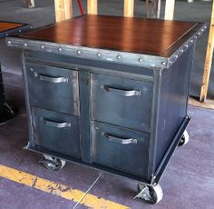old filing cabinets turned island table