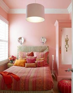Designer Stephen Shubel used Benjamin Moore's Tickled Pink on the walls in this girl's room. Featured in the January 2009 issue of House Beautiful, photo by Jeremy Samuelson