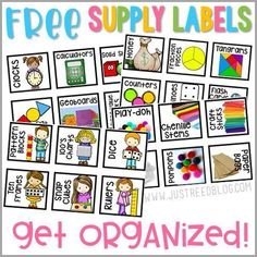 Grab these colorful and FREE classroom school supply labels to help you get and stay organized! #classroomsupplies #backtoschool #endofschool #classroomorganization #classroom management