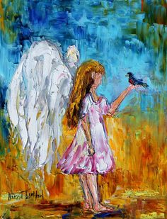 Original oil Angel with bird painting modern by Karensfineart
