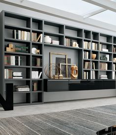 Bookshelves Decorating Ideas for Living Room Book Shelf Decorating Idea & Tip Bookshelves Decorating Ideas for Living Room. If you have bookshelves in your home, and lots of books, you've… Bookshelves In Living Room, Wall Bookshelves, Room Shelves, Bookcases, Floor To Ceiling Bookshelves, Living Room Wall Units, Grey Shelves, Modern Bookcase, Living Room Designs