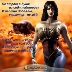 Женщине на заметку - чёрный кот уступил мне дорогу Wonder Woman, Fantasy, Superhero, Movie Posters, Movies, Fictional Characters, Women, Quotes Motivation, Laughing