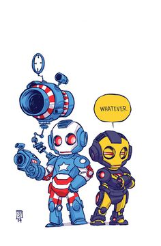 Iron Patriot & Iron Man by Skottie Young