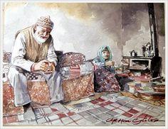 ORHAN GÜLER - Türkish Watercolor Artist Painter - Denizli Sarayköy Art Work Watercolor Artist, Art Work, Composition, Age, People, Painting, Paint, Work Of Art, Painting Art