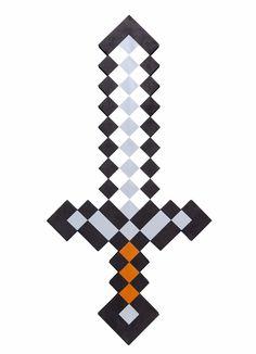 Minecraft Designs, Minecraft Pattern, Minecraft Sword, Hama Beads Minecraft, Minecraft Pixel Art, Minecraft Creations, Perler Beads, Espada Minecraft, Imprimibles Toy Story Gratis