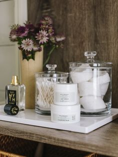 We partnered with Botanics' to stock our powder room with everything we'd ever need to hit refresh in the middle of the work day, diy How We're Stocking The Bathroom at Bathroom Counter Decor, Bathroom Fixtures, Small Bathroom, Bathroom Ideas, Bathroom Canvas, Office Bathroom, Marble Bathrooms, Master Bathroom, Apothecary Bathroom