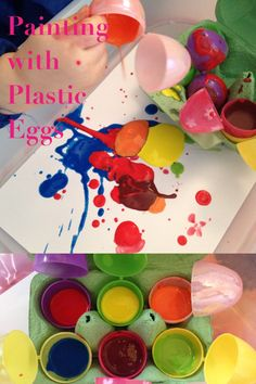 Painting with plastic eggs. Fill the plastic eggs with paint and add a little water to make it runnier. You may need to tape up the bottom of the eggs as most have holes in. Put them in an egg carton add some card and let little ones play. My little one enjoyed closing them and pouring the paint through the holes at the top but after a while it was more fun to just pour the paint all over. It made some brilliant patterns on the card.   Adventures with Isla-Brae Plastic Eggs, Toddler Play, Some Cards, More Fun, Little Ones, Tape, Fill, Easter, Patterns