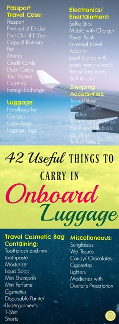 42 Useful Things as Carry On Essentials Packing List For Travel, Travel Checklist, Travel Planner, Travel Guides, Travel Tips, Travel Stuff, Travel Hacks, Carry On Essentials, Travel General