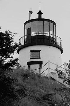 Hilltop Light in Black and White