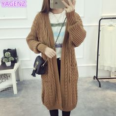 YAGENZ Women Warm Sweater Coat New Autumn Knit Cardigan Sweater Lady white Long section Fashion Women. Click visit to buy #WomenCardigan