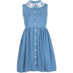 Miss Selfridge Light Wash Denim Skater Dress ($35) ❤ liked on Polyvore featuring dresses, vestidos, robes, denim, light wash denim, denim dress, miss selfridge, blue dress, miss selfridge dress and skater dress
