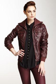 Leather Bomber Jacket on HauteLook