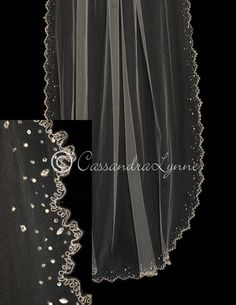 This glamorous cathedral wedding veil has an intricate scalloped edge embroidered with silver thread and accented with pearls, beads and marquise rhinestones. i