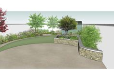 www.owenchubblandscapers.com Dublin, Ireland Design concept for a garden makeover in #Terenure featuring sweeping curvolinear patio, raised planters and lawn area into a coherent arrangement to optimise space and visual interest. An effective arrangement which is designed to be practical, visually appealing, and demanding little maintenance.  Designed with integrity and built with integrity. Landscape Design, Garden Design, Garden Makeover, Lawn Edging, Raised Planter, Dublin Ireland, Garden Bridge, Integrity, Landscaping