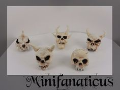 Skulls of the Fallen: **Individuals**  Miniature skull, gothic dollhouse, demon skull, wolf, witch,wizard house, medival miniatures