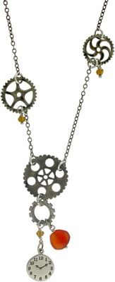 Time Machine Necklace featuring Sterling Silver Gear Charms, silver clock charms, and compass silver charms from Nina Designs® are steampunk cool.