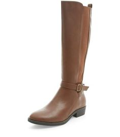 Tan Strap Front Elasticated Panel Knee High Boots