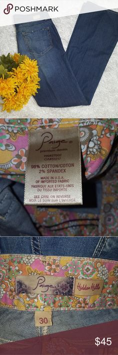 """Paige Hidden Hills Jeans Crease Bootcut In good condition jeans with a crease. Measurement approximations:  Waist across 15.5""""  Rise 9""""  Inseam 34""""  Leg hem 9.5 PAIGE Jeans Boot Cut"""