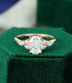 Oval Moissanite engagement ring vintage unique Cluster rose gold engagement ring women Marquise diam