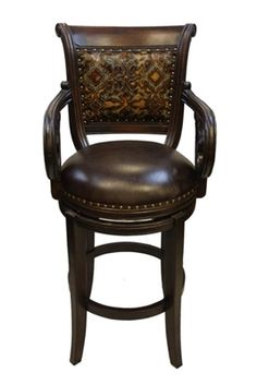Winston Embossed Leather Old World Bar Stool
