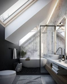 small modern bathroom under roof black paint marble wallpaper . petite salle de bain moderne sous combles peinture noire papier peint marbre small modern bathroom under the roof black paint marble wallpaper Loft Bathroom, Bathroom Windows, Bathroom Interior, Remodel Bathroom, Bathroom Remodeling, Loft Interior, Modern Interior, Sloped Ceiling Bathroom, Loft Ensuite