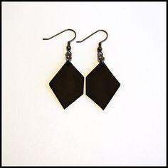 Matte Black Earrings / Handmade Polymer clay Dangle by ByIzabela