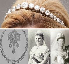 The Dutch Diamond Bandeau, This tiara was created for Queen Juliana (1909-2004) using large diamonds her grandmother, Queen Emma, received as a wedding gift. Initially, 34 of these giant gems were set in a necklace. The tiara was first seen on Queen Juliana in 1937. Queen Juliana's mother, Queen Wilhelmina, also wore the new tiara. Left to Right: Queen Emma's wedding gift necklace and brooch, Queen Emma wearing the necklace as a dress ornamentation, Queen Wilhelmina wearing the shorter…