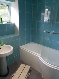 Turquoise bathroom - work in progress