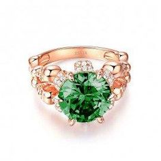 #Jeulia - #Jeulia Rose Gold-Tone Round Cut Created Emerald Four Skull Ring - AdoreWe.com