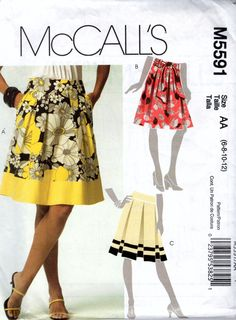 Mccalls m5591 Ladies skirt and sash in three by marcellassewing, $5.99