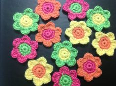 Hand Crochet Summer Flower Appliques by OnceUponACraft4U on Etsy, $8.65