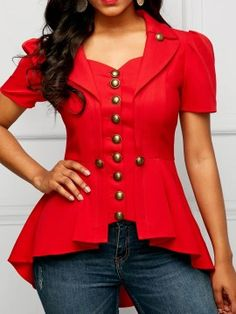 How to Make the Perfect Blackened Salmon The First Time Button Embellished Red Asymmetric Hem Blouse Trendy Tops For Women, Blouses For Women, Blouse Styles, Blouse Designs, Rock Chic, Red Blouses, Formal Blouses, Mode Outfits, African Dress