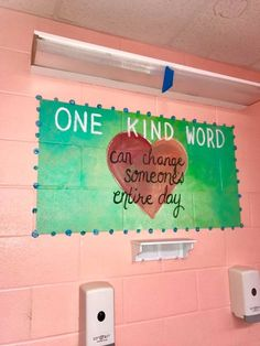 Murals in a middle school bathroom are inspiring girls to be kinder — both to themselves and others. School Hallways, School Murals, School Bulletin Boards, School Classroom, Respect Bulletin Boards, Classroom Decor, School Counselor Door, Character Bulletin Boards, Kindness Bulletin Board