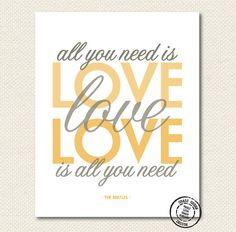 The Beatles All You Need Is Love Gray and Gold by grassgreendesign, $14.00