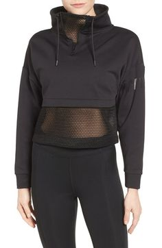 mesh panel funnel sweatshirt by IVY PARK. A boxy pullover is modernized by open hexagonal mesh and an adjustable funnel neckline. Sport Fashion, Look Fashion, Fitness Fashion, Fashion Outfits, Womens Workout Outfits, Sporty Outfits, Cute Outfits, Estilo Fitness, Nordstrom