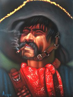 Bandit, Mexican Bandito, Original Oil Painting on Black Velvet by Alfredo Rodriguez
