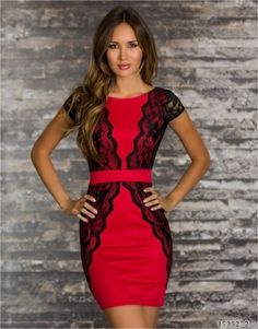 2014 New fashion spring mini dress sexy club plus size bandage dress with lace red dress M/L/XL MN135red http://www.super-sexy-lingerie.com/?Peplum-Dresses/pro-p13802.html