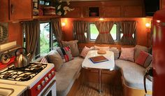 interior seating in an airstream...    this would be the perfect setting for some apples to apples!!