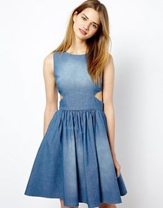 French Connection Denim Dress with Cut Away Waist