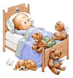 ruth morehead graphics | enfant au lit avec des nounours 28
