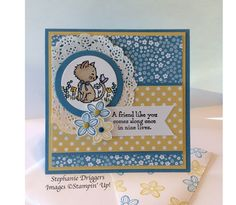 Stampin Up Pretty Kitty stamp set. Subtle DSP in Marina Mist and So Saffron and Whisper White card stock.