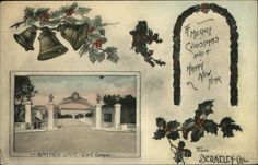 Vintage Christmas Post Card, Merry Christmas and Happy New Year from Berkeley, Cal. Sather Gate, U. of C. Campus