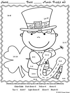 March Math Ness Printables Color By The Code Puzzles