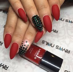 Matte red and sparkles